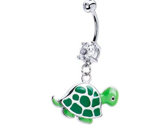 Belly Button Ring Cute GREEN TURTLE Clear Gems 14g Stainless Steel Navel Piercing Body Jewelry