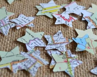 atlas star confetti, map star confetti, wedding confetti - 100 pieces