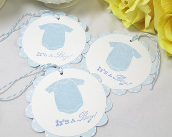 10 Baby Tags...Boy Baby Shower Favor Tags/ Gift Tag/ Boy Baby Tag/ Blue Baby Boy Tag/ It's a Boy Baby Tags/ Thank You Tags/ Baby Boy Bag Tag