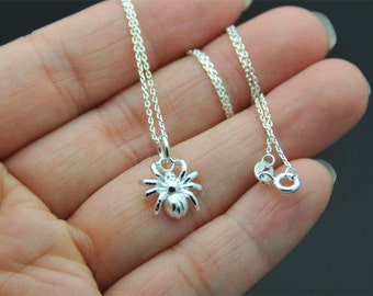 Dainty Sterling Silver spider Necklace -  tiny spider  necklace, Creepy crawly,