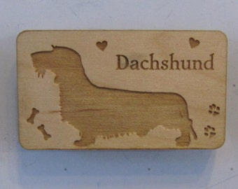 Original Design Wirehaired Dachshund Wood Magnet