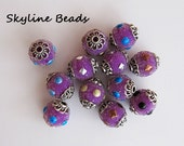 Indonesia Beads, Handmade, Purple with Fun Embellishments including micro-beads