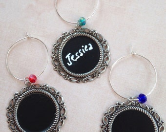 Chalkboard Wine Charms - Ornate Framed Chalkboard Wine Charms with Swarovski Crystal Accent - Easily Change Names Anytime