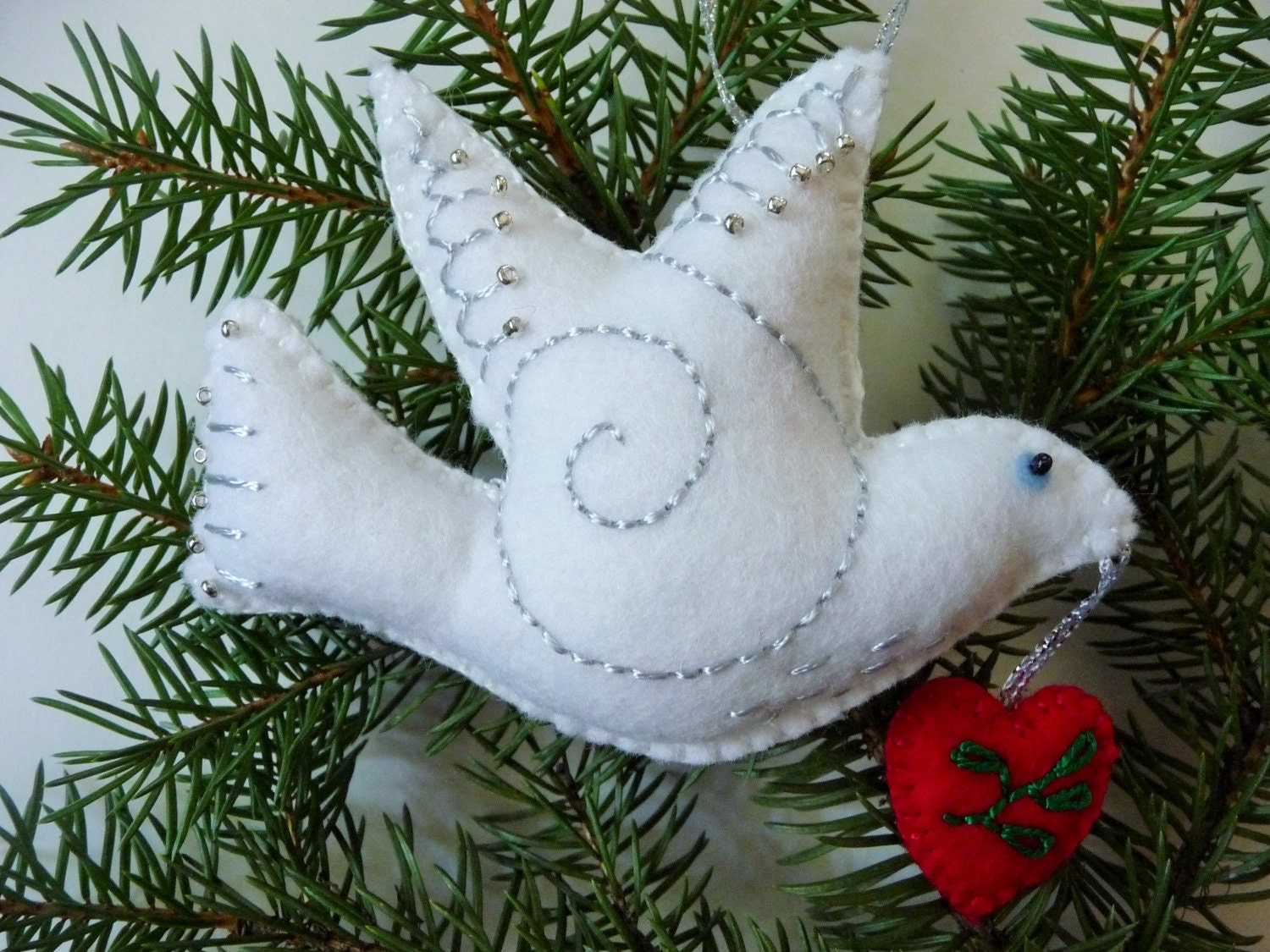 Dove Ornament / White Felt Bird Ornament / Dove of Peace