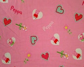 Peppa Pig Hearts Pink FABRIC by YARDAGE - Cotton Blend