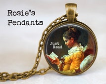 """Jean-Honor Fragonard's """"Reading Woman"""" 1776 - Just Read Pendant Necklace - Reading Girl Necklace - Gift for Reader - Book Lover Gift"""