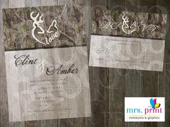 Deer Wedding Invitations: Items Similar To Camo Love Deer Hearts Wedding Invitation
