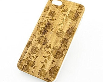 Bamboo Wood Case Cover for Apple iPhone 5/5S Chrysanthemum
