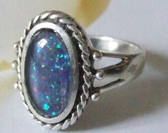 Superb Vintage Sterling Silver Triplet Fire Opal Ring Size