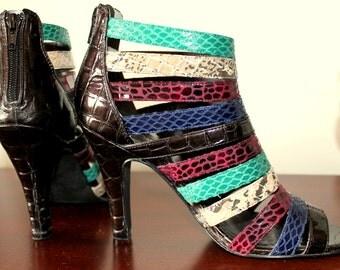 SALE STRAPPY HEELS Colorblock Python Gladiator Bootie Sandals Jewel Toned Heels Boho Rocker Patent Leather 37