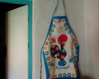 PURE COTTON APRON, Barcelos rooster, lucky charm,folk, traditional, kitchenalia