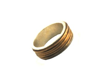Gold Wired Sterling Silver Ring - Womens - Mens - 8mm Band with Gold Filled Wire Wrapped around