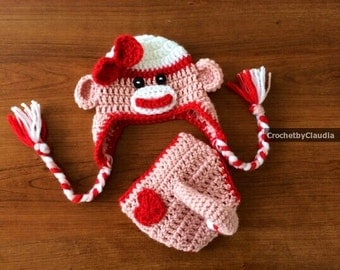 Crochet Valentine's Day Sock Monkey Beanie and Diaper Cover Photo Prop/ Sock Monkey Costume/Made to Order