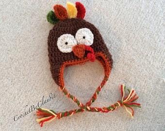 Crochet Baby Boy/ Baby Girl Turkey Hat/ Made to Order