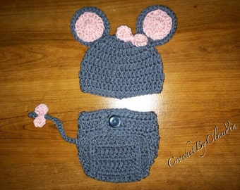 Crochet Little Miss Mouse Beanie and Daiper Cover/Photography Prop/ Mouse Costume/ Made to Order