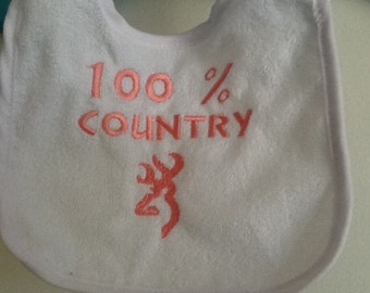 Browning  Country Custom Embroidered Terry Cloth Baby Bib