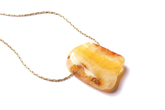 Yellow agate - one small stone bead pendant