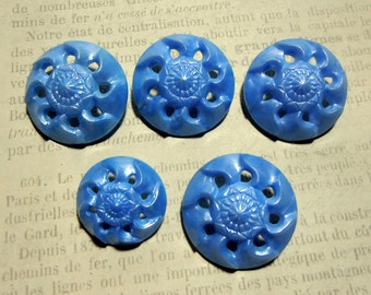 Blue Buttons, Flower Buttons, Plastic buttons, Shank Buttons, Commercial Buttons, Epsteam, Supplies