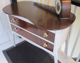 Funky Retro Kitsch Upcycled kidney top chest of drawers. White chalk paint and wood.