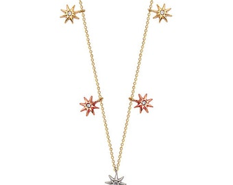 Lucky Five Mini Stars 14k Solid Gold Necklace