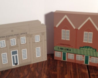 2 Pieces of Collectible Cat's Meow Village, Series XI, United States Post Office and Barbershop Gallery Building, Decorative Accents.