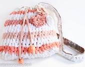 Reversible Crocheted T-Shirt Purse -- Tangerine