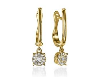 Gold Dangle Earrings, Drop Earrings, Diamond Earrings, 14K Gold Earrings, 0.2 CT Bridal Earrings, Earrings Wedding