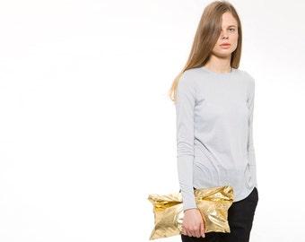 Women's T-Shirt, Gray Tee, Winter Top,  Long Sleeve Shirt