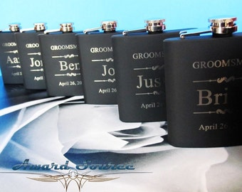 8 Groomsman Flask Set ~With Free Engraving~ 6 oz Black Stainless Steel Flask