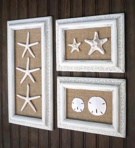 Trio of coastal wall decor cottage chic framed starfish wall for Coastal wall decor ideas