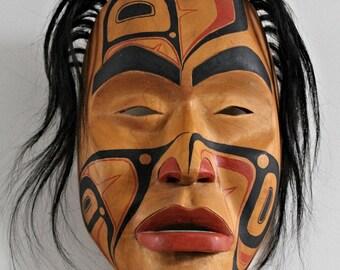 Rare Exceptional Tsimshian Mask / Carved Painted Female Shaman Mask / Pacific Northwest Coast