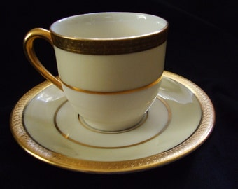 "Vintage Lenox Demitasse Cup and Saucer, ""Lowell"" Variation with Gold Mark"