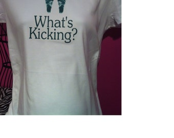 What's kicking funny birth annoucement maternity tee shirt / top / expecting mother / pregnant / belly