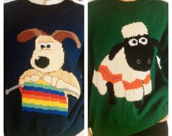 wallace and gromit and shaun the sheep knitting patterns sweaters jumpers for adults men and women knitting theme