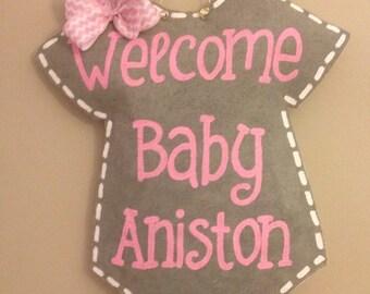 Welcome Baby Burlap Door hanger-personalized