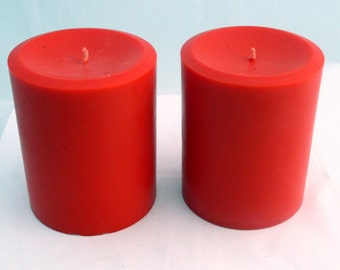 Pillar Candles, Choose 2 Scented or Unscented, 3x3.75 pilllar Candle, soy candles, unscented candles, christmas candles, wedding candles