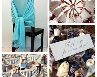 Set of 7 pashmina , pashmina scarf, pashmina shawls, wedding shawls, pashmina wrap, bridesmaid shawls, wedding favors, chair covers