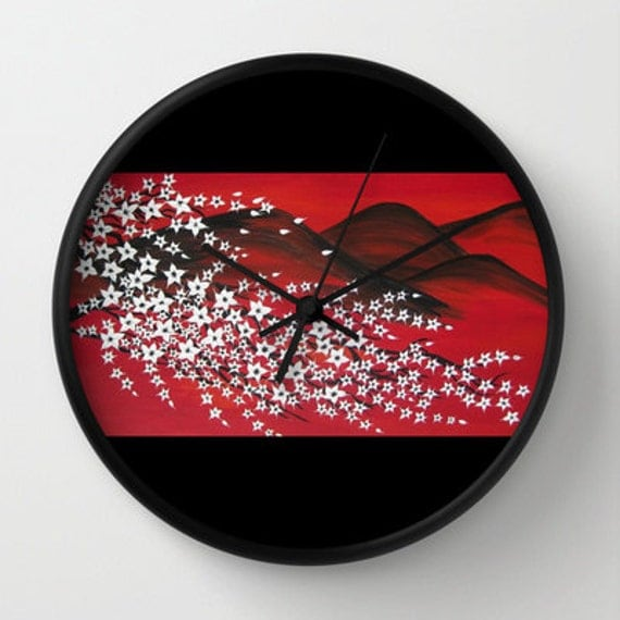 Red black and white clock wall clocks with cherry blossom for Red and black wall clock