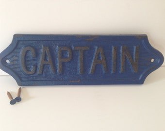 shabby chic Captain cast iron sign, plaque, Navy blue