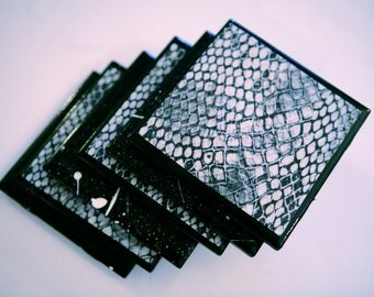 Black Snake Skin Coaster Set _ Set of 6