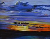 "Original Acrylic Landscape / Seascape/ Sunset Painting on Canvas 16"" X 20"" Titled Sunset #5"