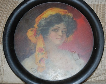 Gypsy Lady Serving Tray from The Bank of Sheldon Illinois Established in 1875 Vintage Nice