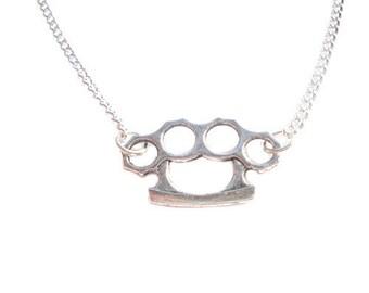 Retro Silver Knuckle Duster Charm Necklace, Rocker, Pendant, Rock, Kitsch, Cute