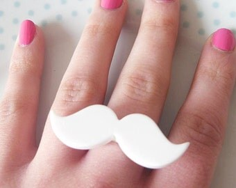 Cute White Adjustable Moustache Mustache Ring, Quirky, Retro, Movember, Geekery, Geek, Nerd, Fashion