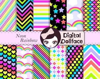 Bright Neon Rainbow Digital Paper, Scrapbook Paper Pack, instant download