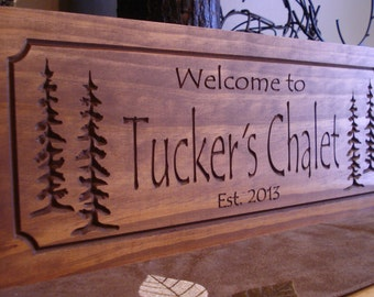 Custom Carved Signs Rustic Forest Family Sign Welcome Signs Established Pine Tree carved Signs Address Plaque Name Plaque Benchmark Signs