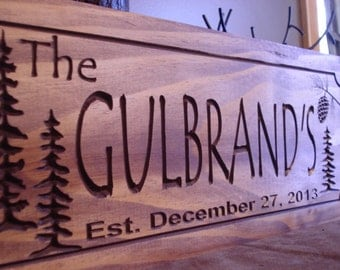 Wooden Carved Sign, Custom Welcome Sign, Family Last Name Signs, Cabin Sign, Established Plaque, wooden Sign, unique gift, Benchmark Signs