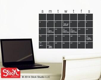 Calendar Wall Decal - Chalkboard Calendar Decal - Blackboard Decal - Chalkboard Calendar - Chalkboard Decal094