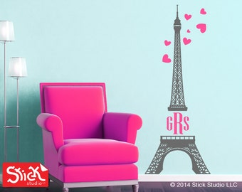 Monogram Eiffel Tower Wall Decal, Monogram Wall Decals, Initials Wall Decal,  Girls Wall Part 42