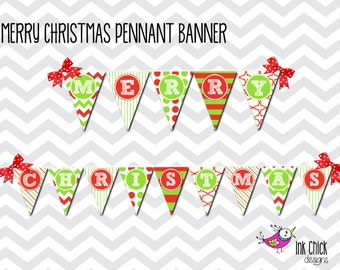 Merry Christmas Pennant Banner - Printable